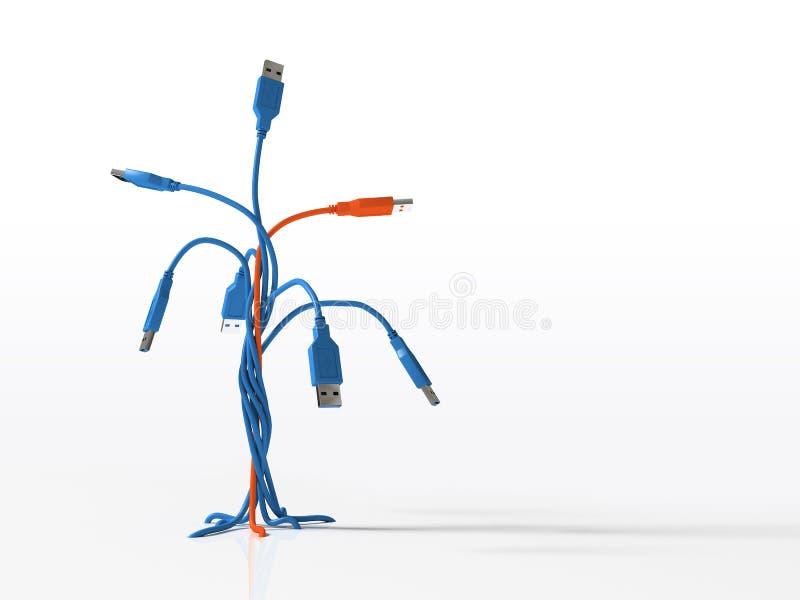 Connecteurs d'usb d'arbre d'isolement sur le fond blanc 3D illustration de vecteur