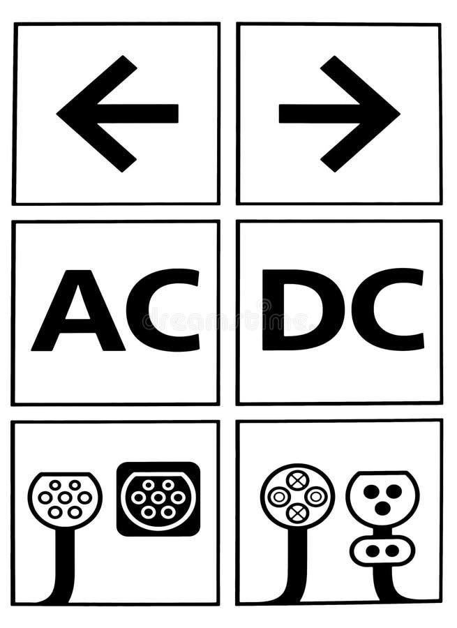 Connecteurs de base pour les véhicules électriques de remplissage Prises et prises de C.C à C.A. illustration de vecteur
