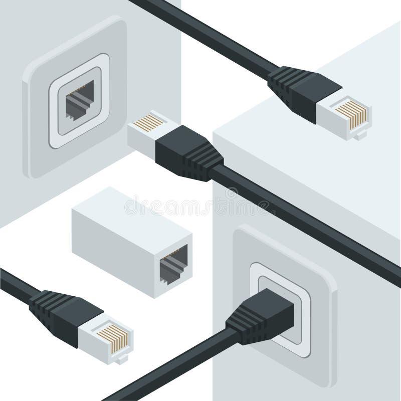 Connecteurs de données d'Internet de réseau illustration de vecteur