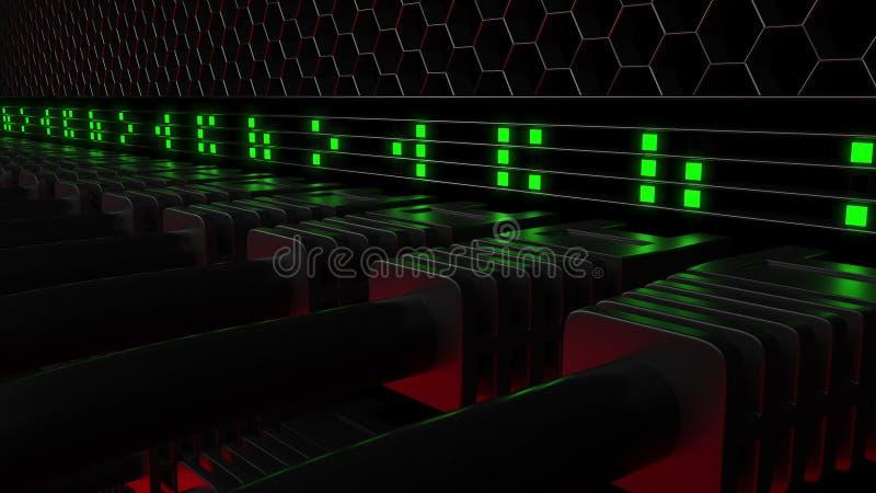 Connecteurs multiples de serveur et lampes vertes de clignotant de LED Réseau informatique, technologie de nuage ou centre de tra illustration de vecteur
