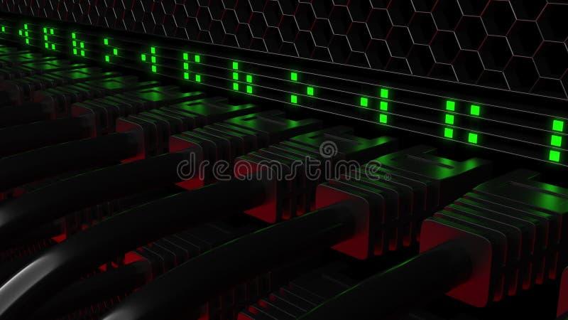 Connecteurs multiples et clignotement LED verte de patchcord Réseau, technologie de nuage ou concepts modernes de centre de trait photo libre de droits