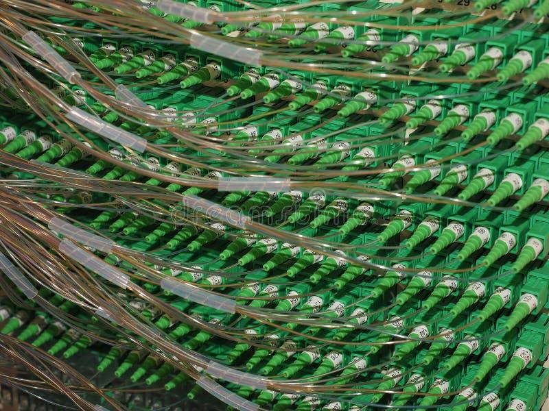 Connecteurs optiques de fibre dans les maisons se reliantes d'un panneau électrique à la bande large images libres de droits