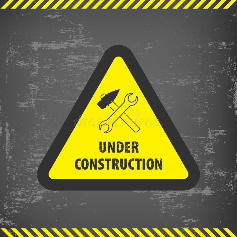 Connectez-vous en construction le fond au sol gris Illustration de vecteur pour le site Web Triangle en construction avec le noir illustration libre de droits