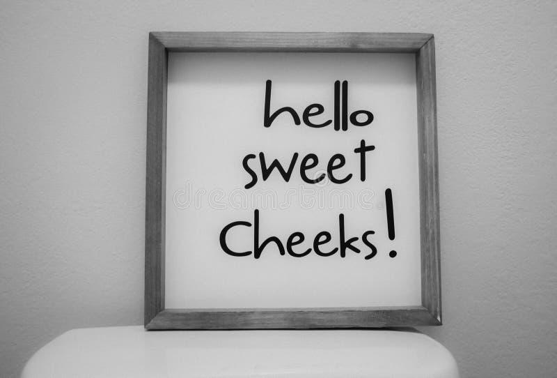 """Connectez-vous les joues douces de toilette """"bonjour """" photographie stock libre de droits"""