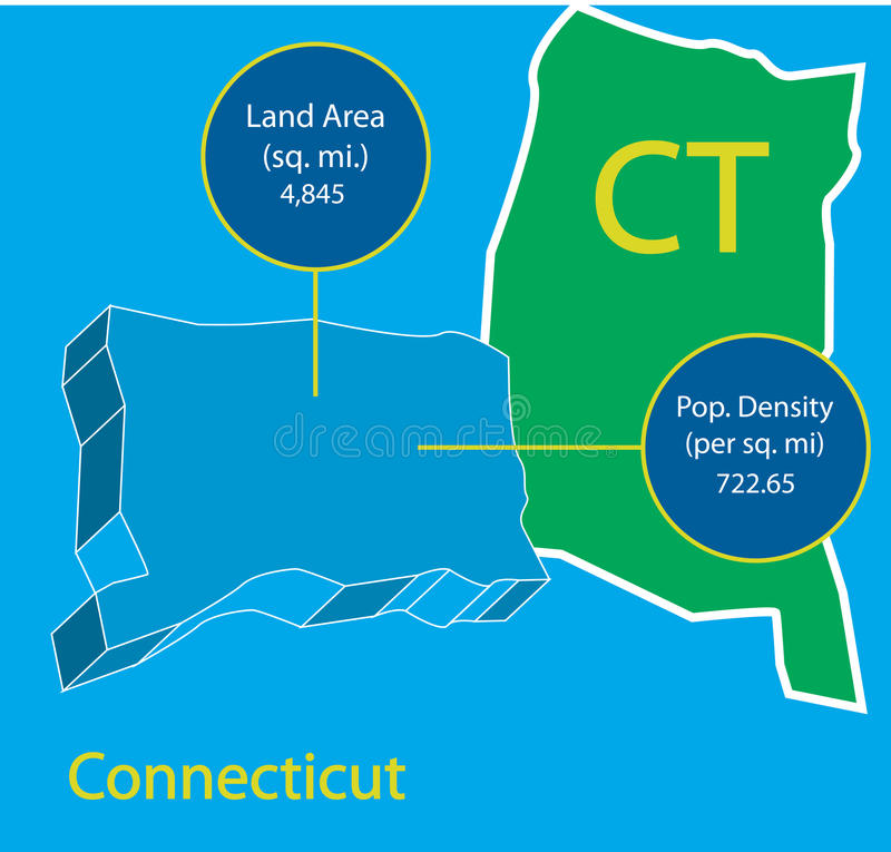 Connecticut 3d Vector Map Info Graphic Stock Vector Illustration