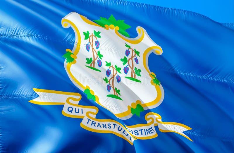 Connecticut-Art der Flagge wellenartig bewegendes Design der Flagge 3D US-Staats-Flaggen von Connecticut und von Hartford, Wieder stockbild