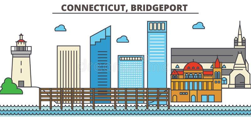 Connecticut, Bridgeport Skyline da cidade ilustração do vetor
