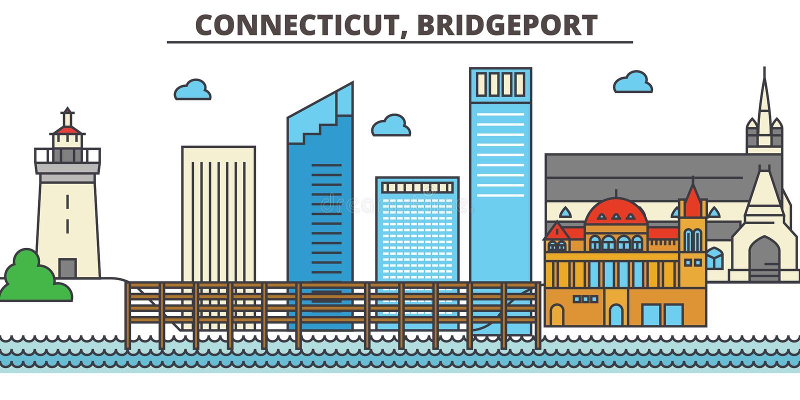 Connecticut, Bridgeport tła miasta projekta linia horyzontu wektor twój ilustracja wektor