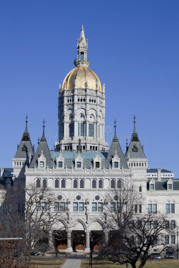 Connecticut Capital. The capital building in hartford Connecticut on a nice clear winter's day. The building is an example of Eastlake Style architecture, with stock photo