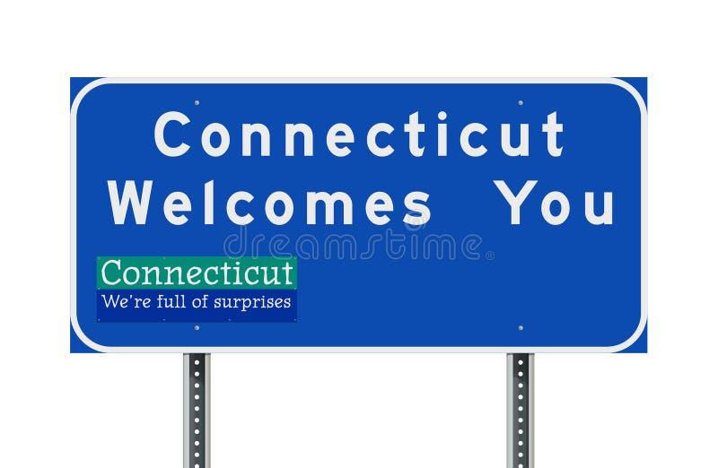 Connecticut heet u welkom verkeersteken stock illustratie
