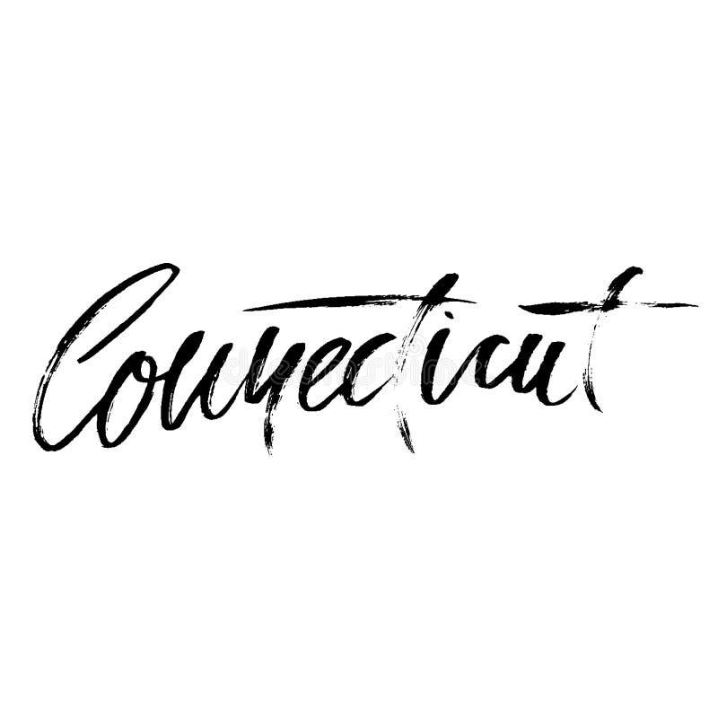 connecticut Modern trocknen Sie Bürstenbeschriftung Retro- Typografiedruck Handgeschriebene Aufschrift des Vektors USA-Staat lizenzfreie abbildung