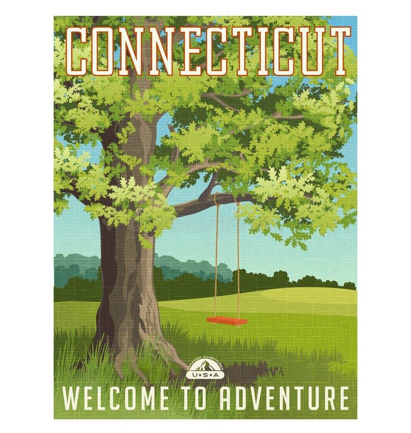 Connecticut-Reiseplakat oder -aufkleber vektor abbildung