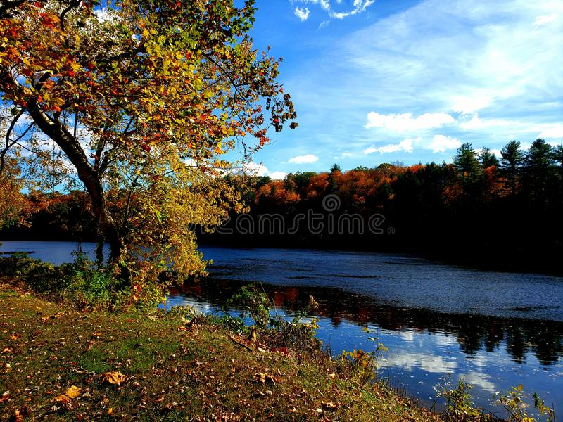 Connecticut river in the fall royalty free stock photography