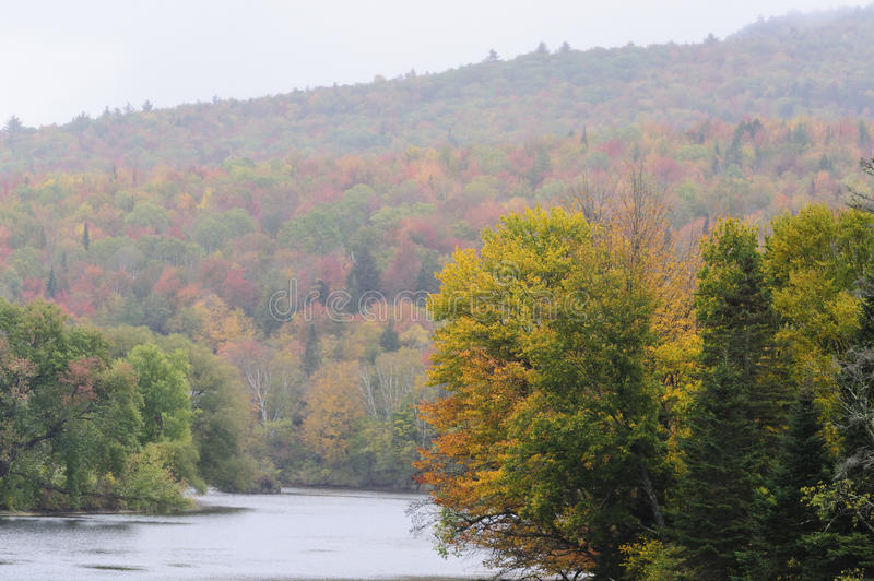 Connecticut River Valley. Stretch of Connecticut River near Mount Orne Bridge on rainy morning royalty free stock photos
