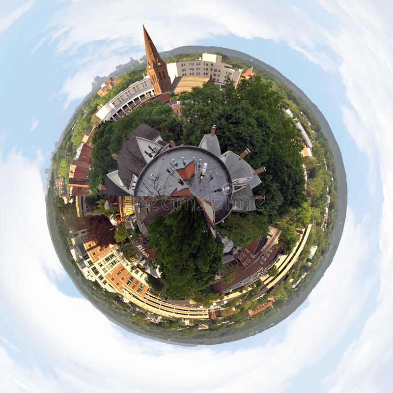 Connecticut Skyline. A three dimensional panoramic view of the skyline in New Britain Connecticut in a mini planet panorama style stock images