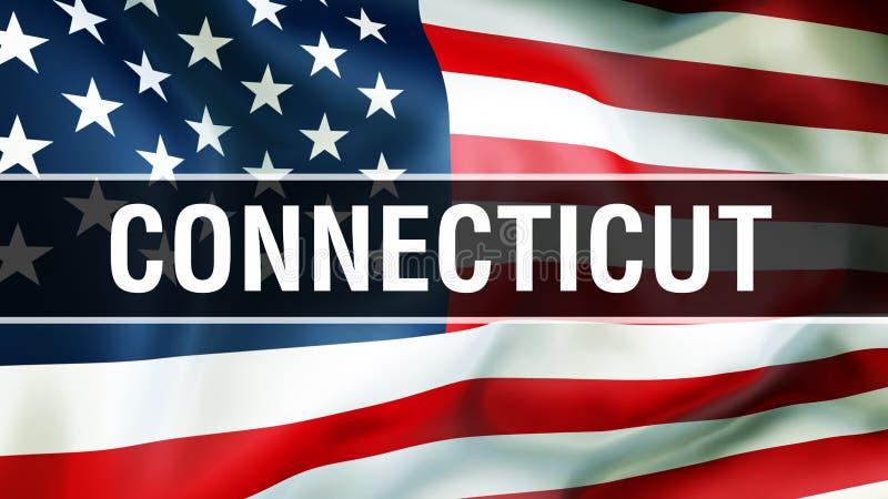 Connecticut-Staat auf einem USA-Flaggenhintergrund, Wiedergabe 3D Staaten von Amerika fahnenschwenkend im Wind Stolze amerikanisc lizenzfreie abbildung