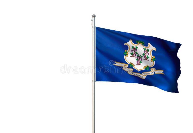 Connecticut-Staat von Vereinigten Staaten lokalisierte fahnenschwenkende realistische Illustration 3d des weißen Hintergrundes lizenzfreie abbildung