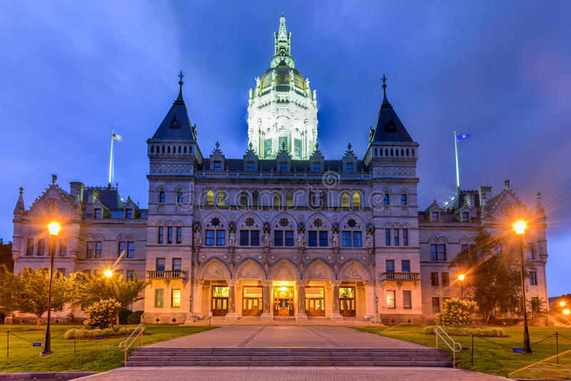 Connecticut State Capitol. In Hartford on a summer evening. The building houses the State Senate, the House of Representatives and the office of the Governor stock images