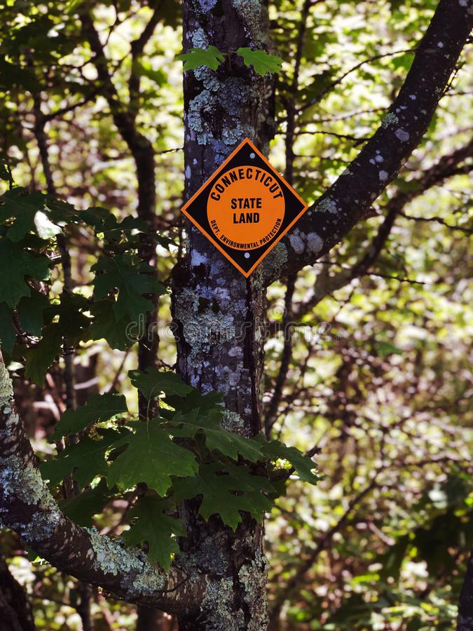 Connecticut state land indicator sign on the tree trunk stock image