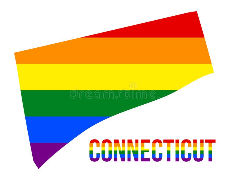 Connecticut State Map in LGBT Rainbow Flag Comprised Six Stripes With Connecticut LGBT Text. The Flag Comprised Six Stripes; Meaning to Each of The Colors royalty free illustration