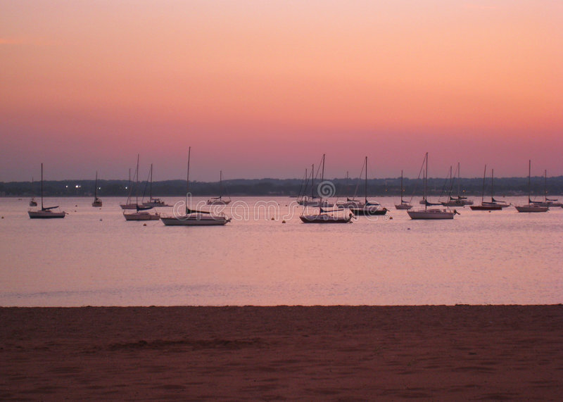 Connecticut sunset. Summer sunset over the Atlantic Ocean in East Haven, Connecticut stock image
