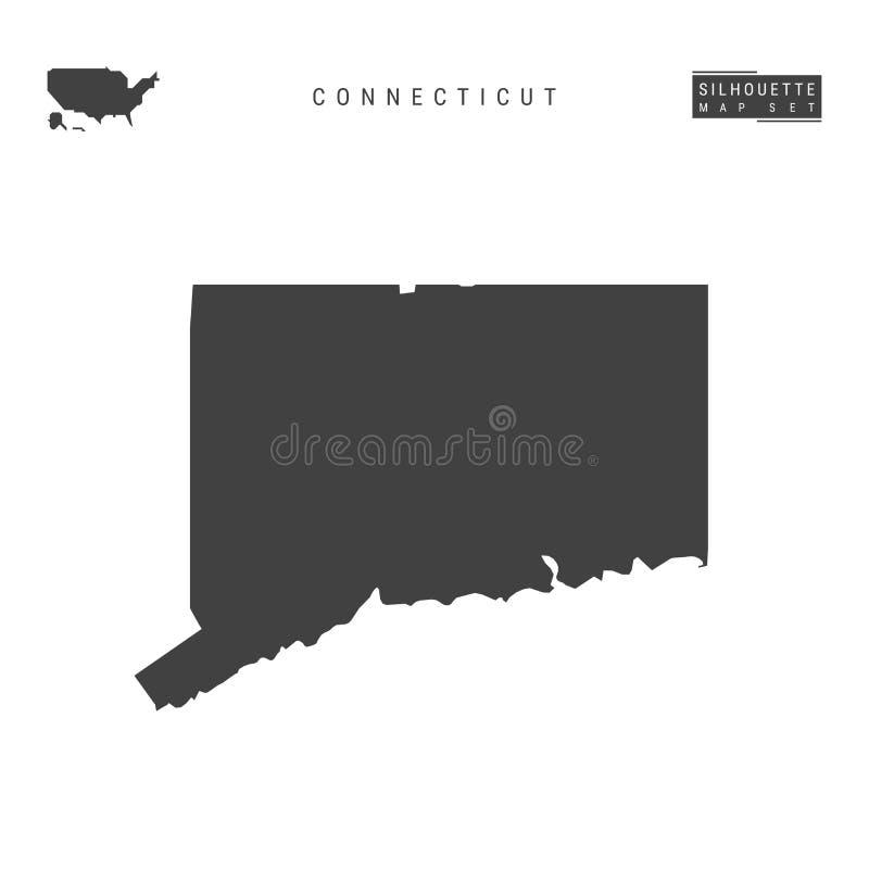 Connecticut USA påstår vektoröversikten som isoleras på vit bakgrund Hög-specificerad svart konturöversikt av Connecticut vektor illustrationer