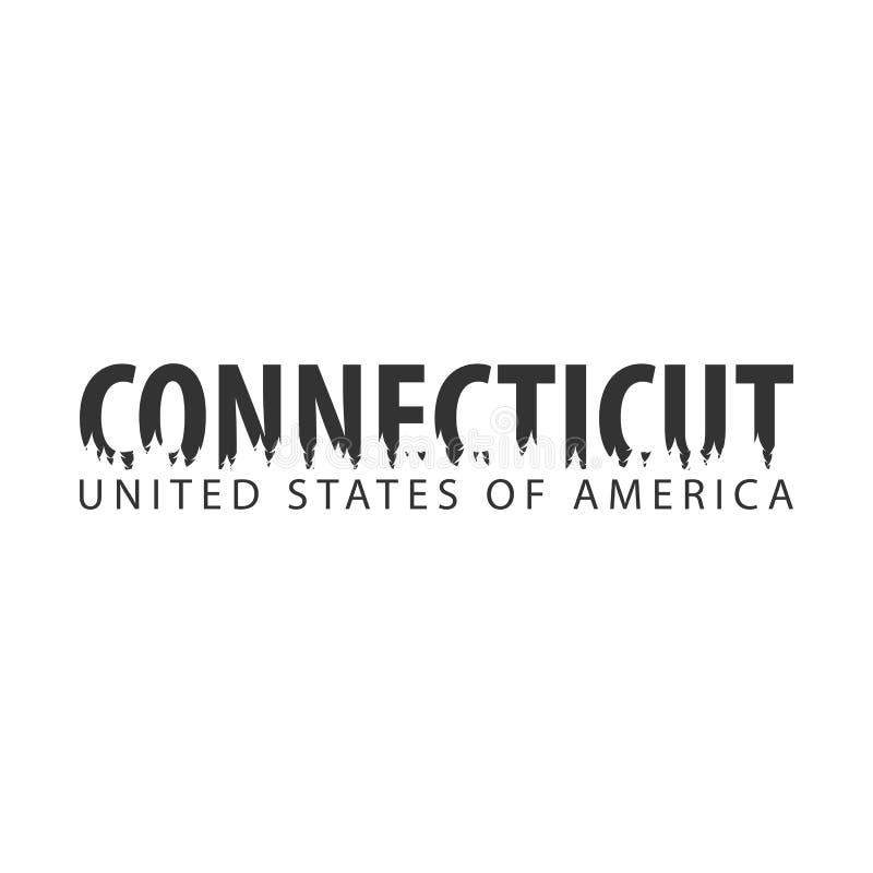 connecticut USA Staaten von Amerika Text oder Aufkleber mit Schattenbild des Waldes stock abbildung