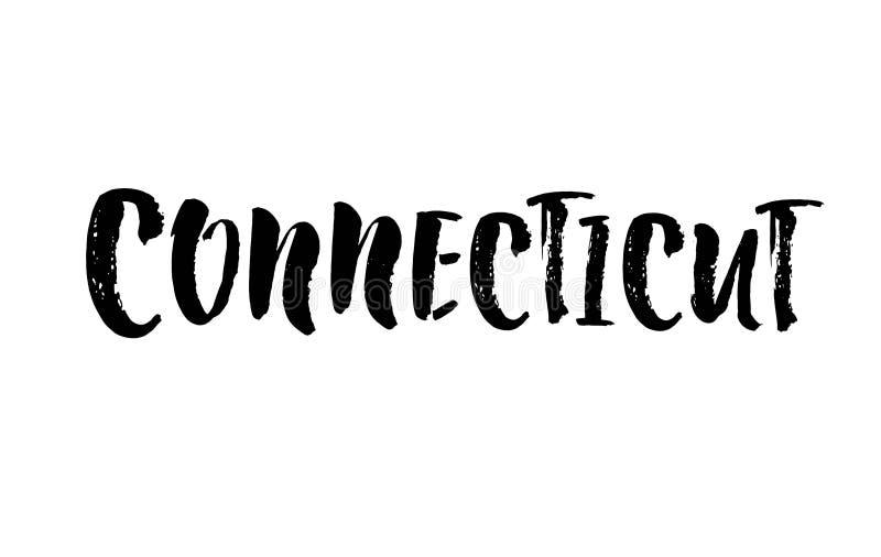 Connecticut uttryck som är handskrivet med en calligraphic borste USA-stat Motivational och inspirerande citationstecken vektor stock illustrationer