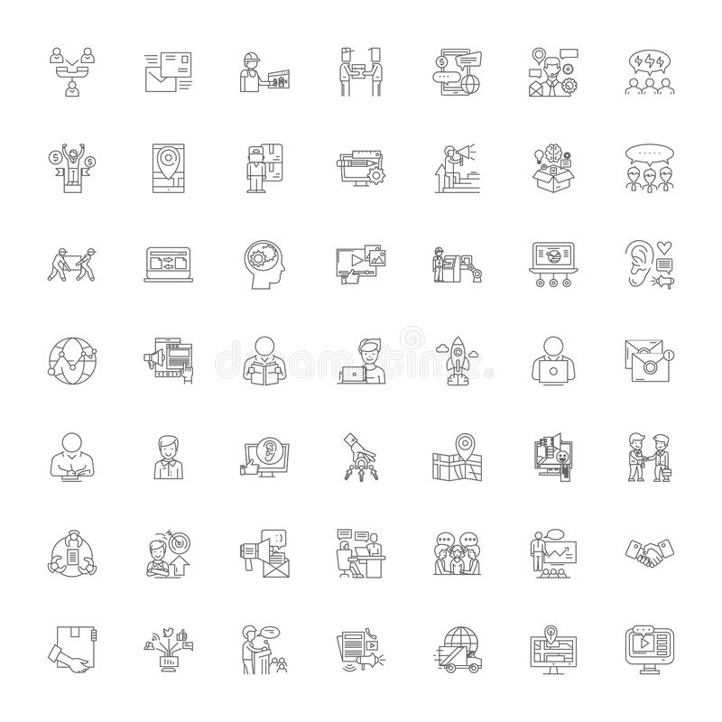 Connecting business linear icons, signs, symbols vector line illustration set 库存例证
