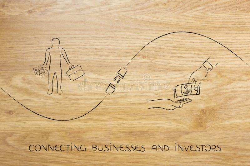 Connecting businesses and investors with businessman, funds exchange and plug. Connecting businesses and investors metaphor: business men next to hands vector illustration