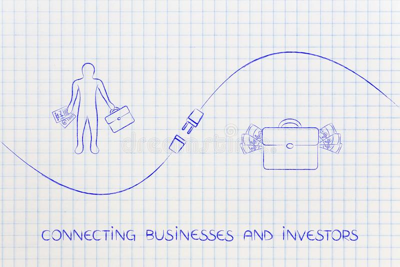 Connecting businesses and investors with businessman, bag of mon. Connecting businesses and investors metaphor: business men next to bag of money and plug in vector illustration