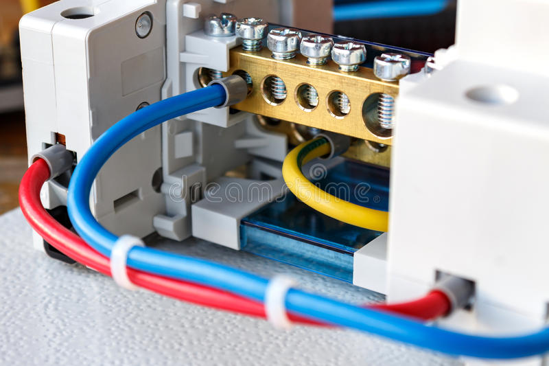 Connecting components of the electrical panel closeup stock photos