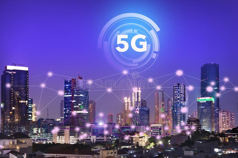 The internet network on the 5G technology system on business buildings and skyscrapers as the business center of the city of royalty free stock photos