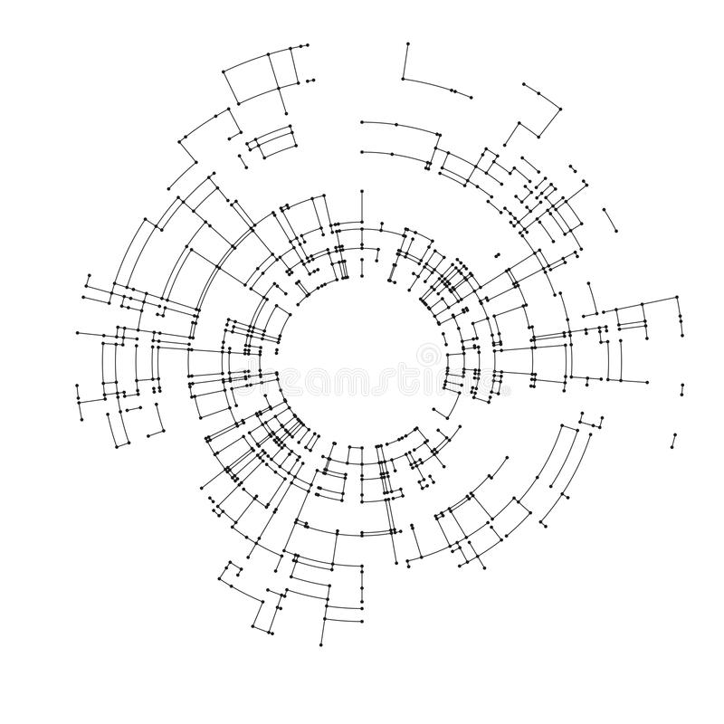 Connecting lines and dots on white background. Abstract network connection design concept. Technology design vector. Background, digital geometric abstraction royalty free illustration