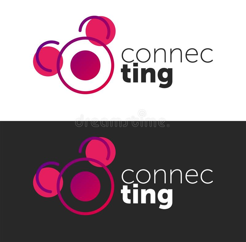 Connecting logo. circle vector objects. line logo. color connect stock illustration