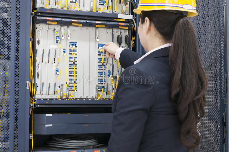 Connecting network cables to switches royalty free stock image