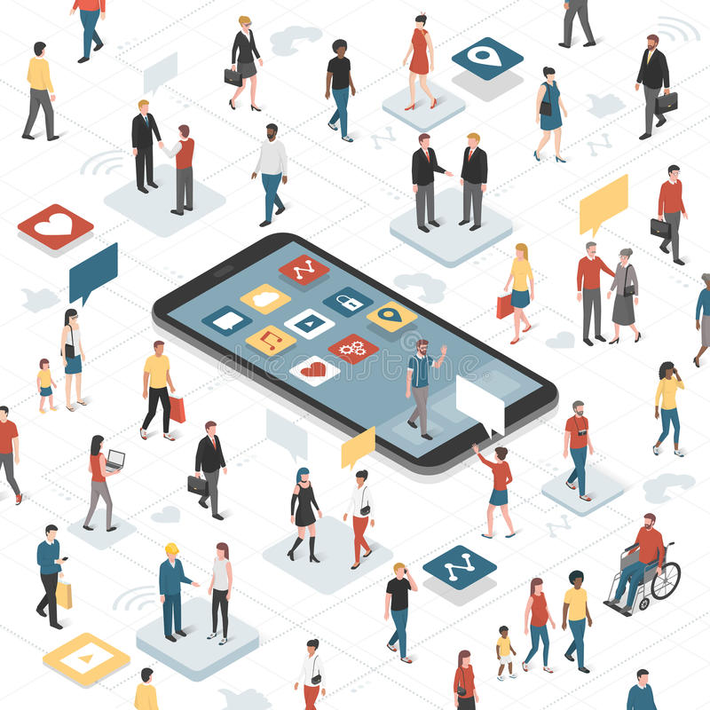 Connecting people and social media stock illustration