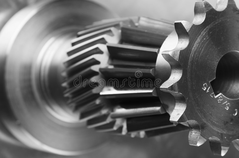 Connecting steel-menagerie. Various gears, cogs, connecting in close-ups stock photography