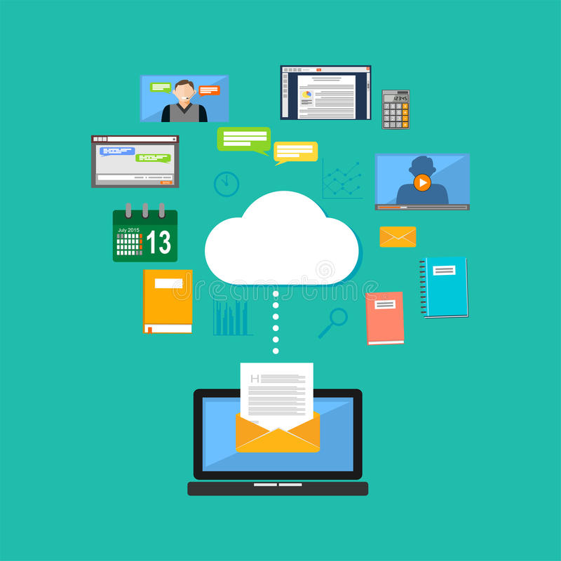 Connecting to cloud computing concept. Accessing cloud contents. Multimedia internet contents stock illustration