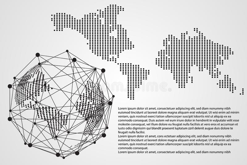 Connectio för nätverk för sammanlänkning för abstrakt teknologibegreppsvärld digital stock illustrationer