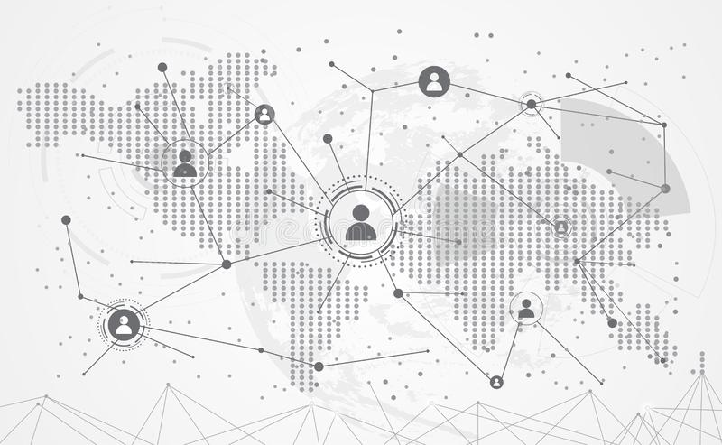 Connection abstract global world map dot line triangle and point stock illustration