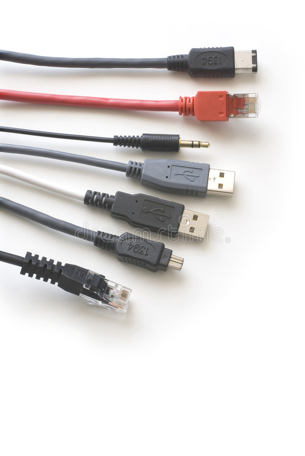 Connection cables 3. Computer connection cables on the white background stock photo