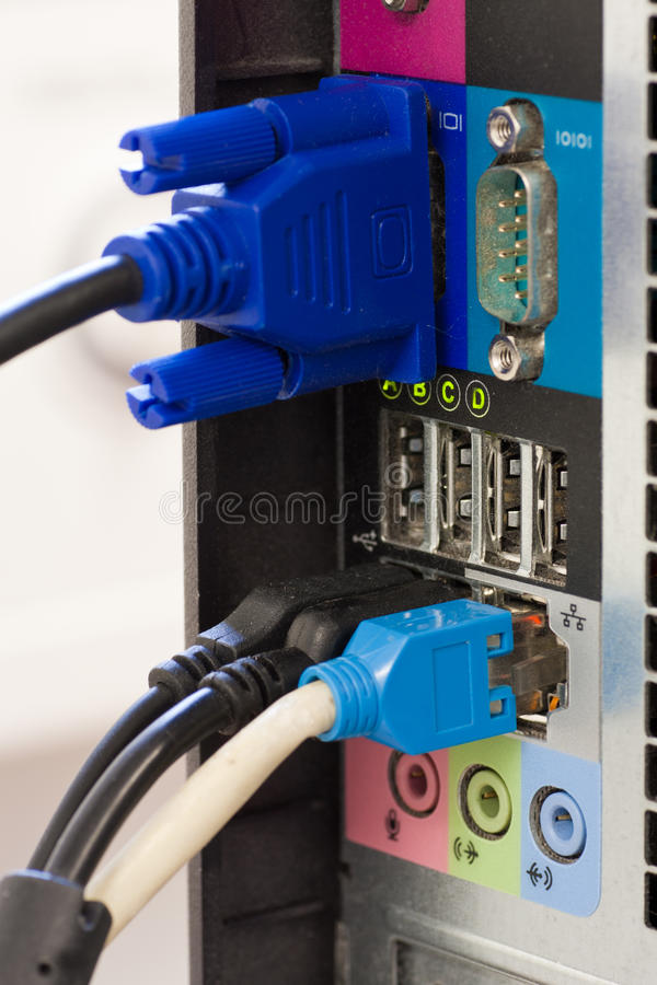 Connection cables back of computer royalty free stock images