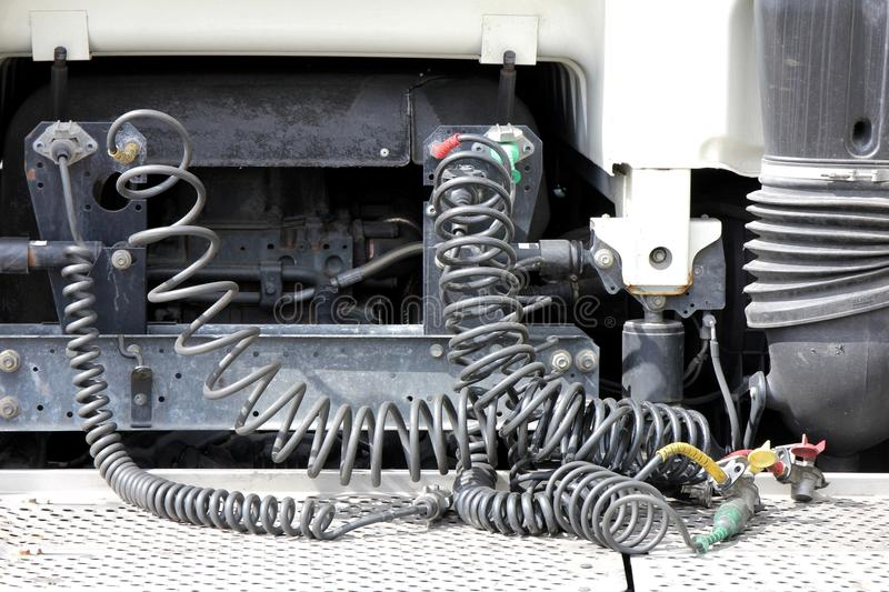 Connection cables. Of a semi-trailer truck stock photos