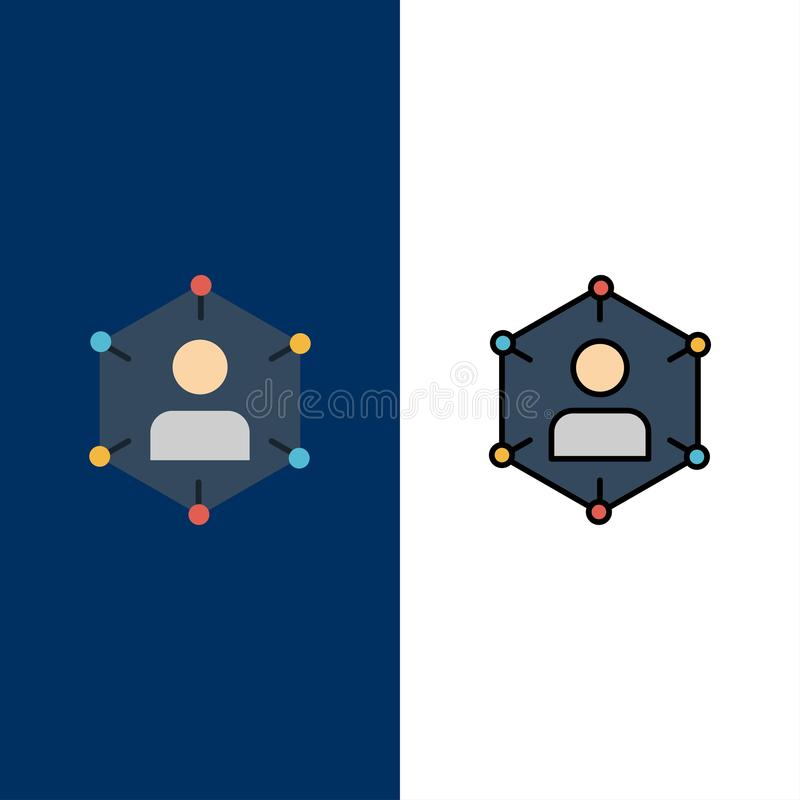 Connection, Communication, Network, People, Personal, Social, User  Icons. Flat and Line Filled Icon Set Vector Blue Background vector illustration