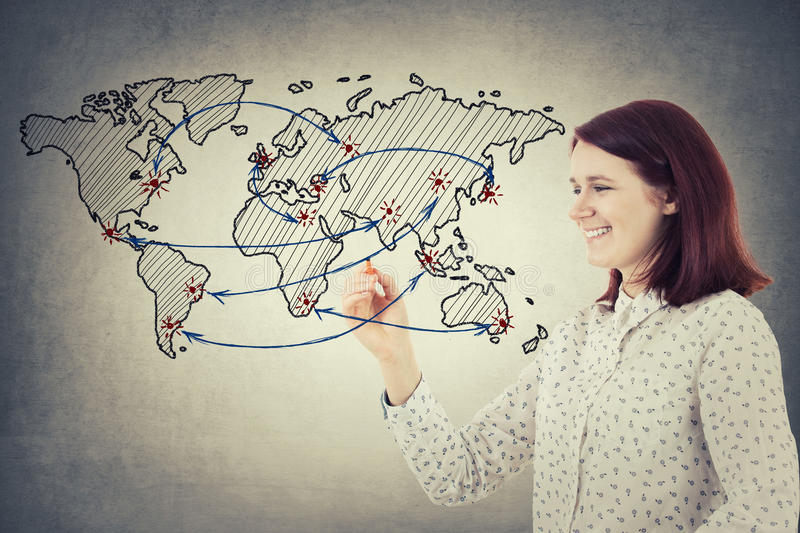 The connection between countries stock photo