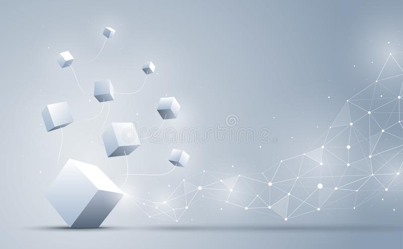 The connection cube with abstract geometric polygonal with connecting dots and lines. Abstract background. Blockchain and big data stock illustration