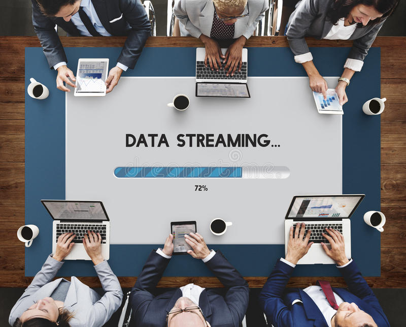 Connection Data Streaming Download Archiving Concept stock photo