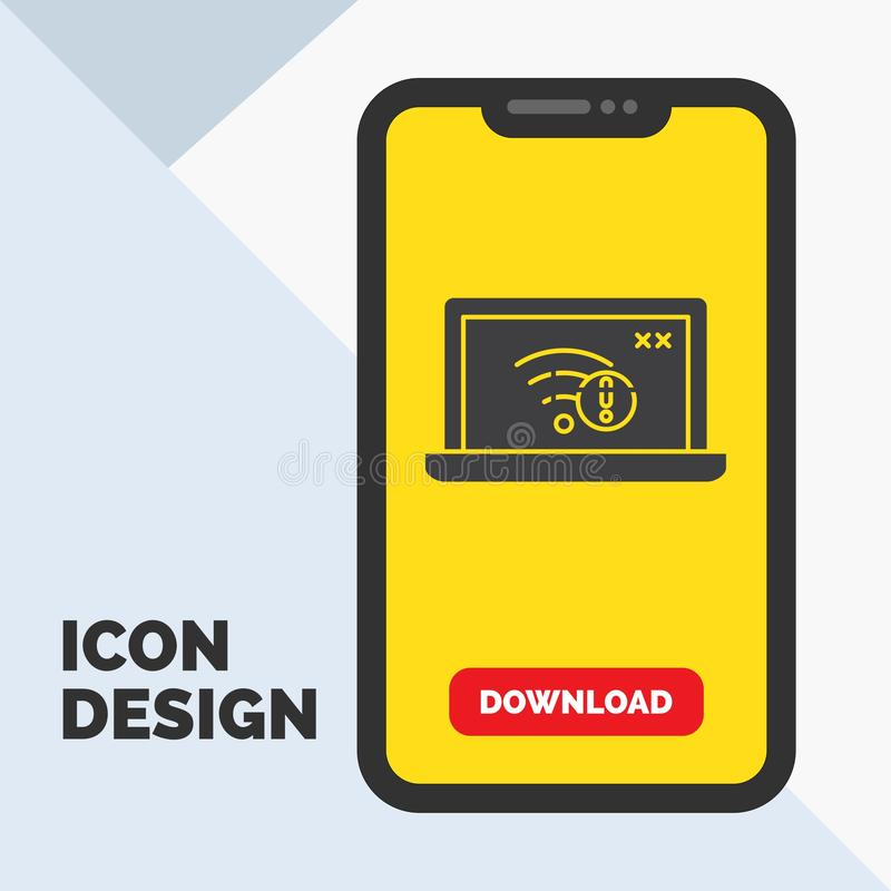 connection, error, internet, lost, internet Glyph Icon in Mobile for Download Page. Yellow Background vector illustration