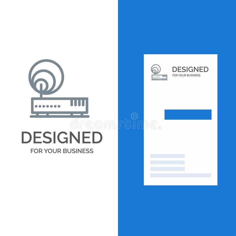 Connection, Hardware, Internet, Network Grey Logo Design and Business Card Template vector illustration